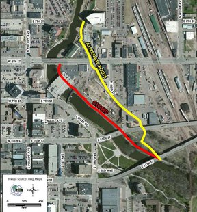 The Sioux Falls bike trail will include a short detour beginning today to accommodate repairs to the Eighth Street bridge over the river downtown. (SF.org)
