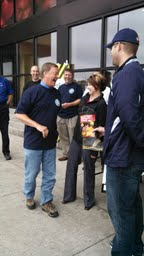 "Moorhead Mayor Mark Voxland and Fargo City Commissioner Melissa Sobolik help kick off ""Fill the Boot"" campaign"