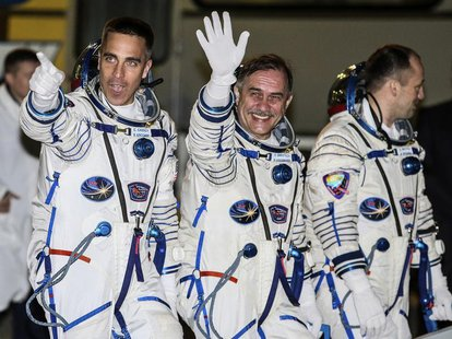 The International Space Station crew members (L to R) U.S. astronaut Chris Cassidy and Russian cosmonauts Pavel Vinogradov and Alexander Mis