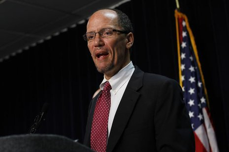 Thomas Perez speaks during a news conference in Phoenix, Arizona May 10, 2012. REUTERS/Joshua Lott