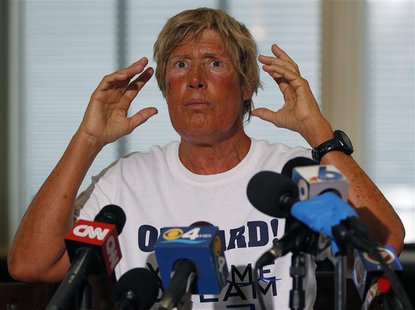 U.S. long-distance swimmer Diana Nyad, 64, who completed her swim from Cuba to Key West, Florida, speaks at a news conference on Stock Islan