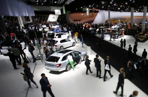 The stand of Volkswagen is pictured during a media preview day at the Frankfurt Motor Show (IAA) September 10, 2013. REUTERS/Pawel Kopczynsk