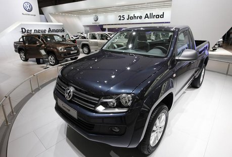 The new 'Amarok' vehicle is displayed at the Volkswagen exhibition area during a preview day at the IAA commercial vehicles trade fair in Ha