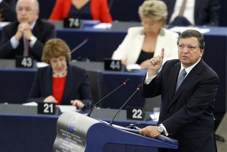 European Commission President Jose Manuel Barroso addresses the European Parliament during a debate on the state of union, in Strasbourg, Se