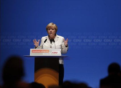 German Chancellor and Christian Democratic Union CDU leader Angela Merkel makes a speech during the election campaign rally in Duesseldorf S