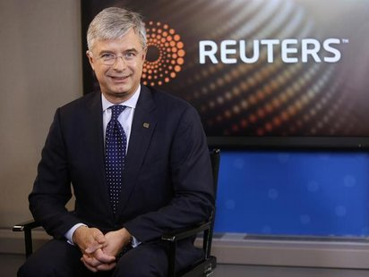 Hubert Joly, President and CEO of Best Buy, sits in the Reuters Television studio after an interview, in New York, November 14, 2012. REUTER