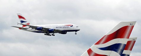 British Airways' new Airbus A380 comes in to land at Heathrow airport in London July 4, 2013. REUTERS/Paul Hackett