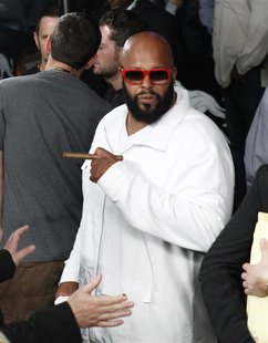 CEO of Black Kapital Records Suge Knight is seen following the Miguel Cotto and Floyd Mayweather Jr. title fight at the MGM Grand Garden Are