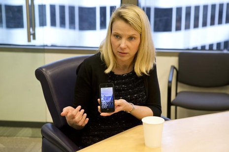 Marissa Mayer, President and CEO of Yahoo, answers questions during the Reuters Global Technology Summit in the Thomson Reuters offices in S
