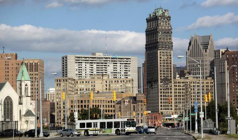 Downtown Detroit is seen looking south on Grand River Avenue in Detroit, Michigan July 25, 2013. REUTERS/Rebecca Cook