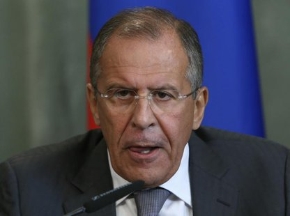 Russia's Foreign Minister Sergei Lavrov attends a press conference after a meeting with his Syrian counterpart Walid al-Moualem in Moscow, S