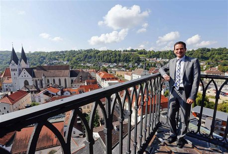 Andreas Steppberger, mayor of Eichstaett, poses on the city's townhall tower August 29, 2013. REUTERS/Michael Dalder