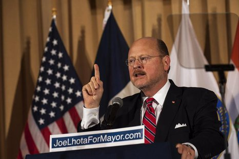 Republican Mayoral candidate Joe Lhota speaks after winning the Republican nomination for New York City mayor in New York, September 10, 201