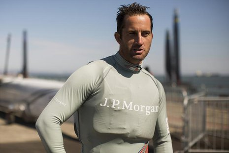 Four-time Olympic gold medalist Ben Ainslie of Great Britain stands for a photograph after sailing in the San Francisco Bay for the first ti
