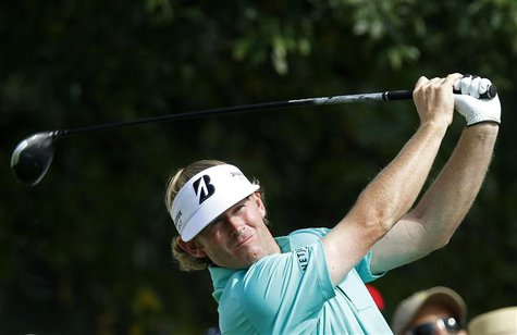 Brandt Snedeker of the U.S. reacts after finishing the first round of the BMW Championship golf tournament at the Conway Farms Golf Club in