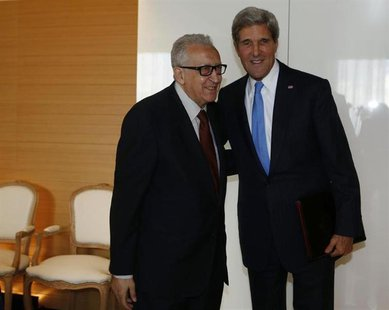 U.S. Secretary of State John Kerry (R) meets with the U.N. Special Representative for Syria Lakhdar Brahimi in Geneva September 12, 2013. RE