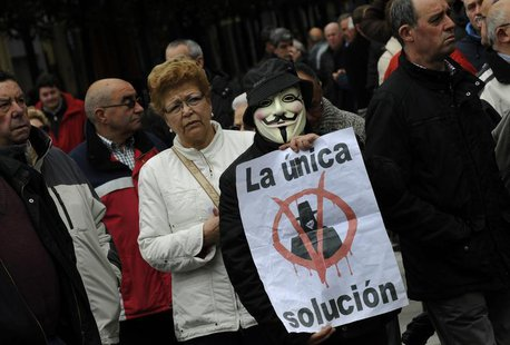 Protesters take part in a May Day demonstration in Gijon, northern Spain May 1, 2013. Workers hit by lower living standards and record high