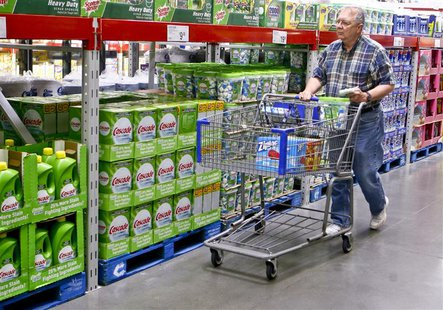 A customer shops along the cleaning product aisle at a Sam's Club store in Bentonville, Arkansas June 2, 2011. REUTERS/Sarah Conard