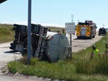 Image of tanker truck that overturned on I-43 on ramp from Highway 28.