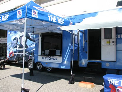 THE REF, Transportable High-End Rider Education Facility, set up for motorcycle safety education.  It features video presentations, simulators, and a knowledgeable staff to answer questions.