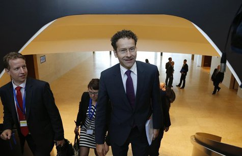 Eurogroup chairman Jeroen Dijsselbloem (R) arrives at an euro zone finance ministers meeting in Luxembourg June 20, 2013. REUTERS/Francois L