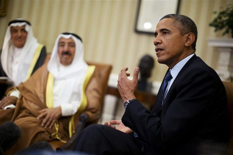 U.S. President Barack Obama meets Sheikh Sabah al-Ahmad al-Jaber al-Sabah, Kuwait's emir, in the Oval Office of the White House in Washingto