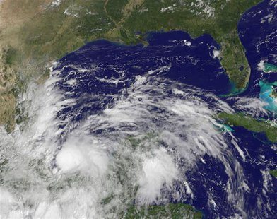 Tropical Storm Ingrid is seen in this NOAA GOES-East satellite image captured at 11:55 a.m. EDT (15:55 GMT) on September 13, 2013. REUTERS/N