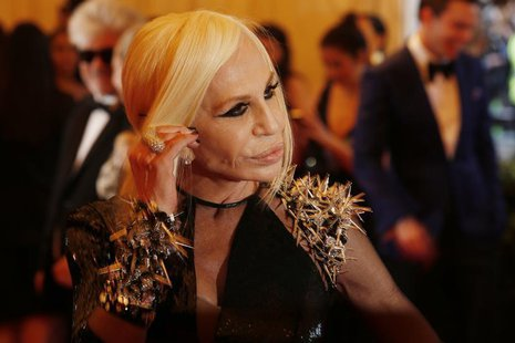 "Fashion designer Donatella Versace arrives at the Metropolitan Museum of Art Costume Institute Benefit celebrating the opening of ""PUNK: Cha"