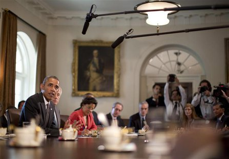 U.S. President Barack Obama speaks during a cabinet meeting in the West Wing of the White House in Washington, September 12, 2013. REUTERS/J