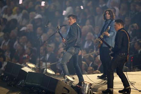 Members of the band Arctic Monkeys perform during the opening ceremony of the London 2012 Olympic Games at the Olympic Stadium July, 27, 201