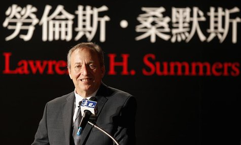 "Lawrence H. Summers, ex-Director of the White House's National Economic Council, gives a speech during a business forum ""The United States,"