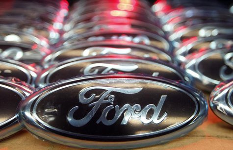 Ford logos are seen at the assembly line of the Ford car factory of Saarlouis, December 6, 2010. REUTERS/Vincent Kessler