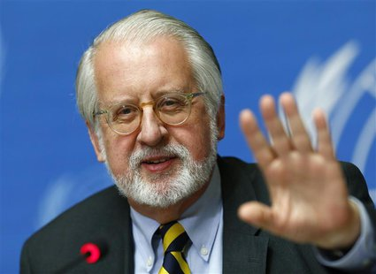 Paulo Pinheiro, chairperson of the International Commission of Inquiry on Syria talks to media during a news conference in Geneva September