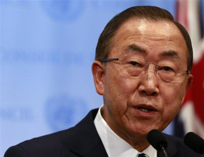 United Nations Secretary-General Ban Ki-moon speaks to the media after briefing the Security Council on the U.N. chemical weapons report on