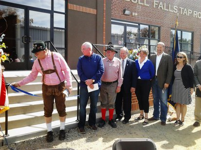 Dignitaries turn out to pull the ribbon on the new Bull Falls Brewery expansion, September 14 2013