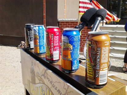 Cans of Bull Falls Brewery beer on display, September 14 2013