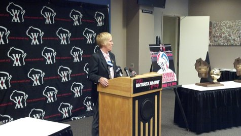 WIAA Associate Director Deb Hauser speaking during a press conference announcing an agreement to hold the girls' state basketball and volleyball tournaments at the Resch Center until 2020. (Photo by: WTAQ Reporter Jeff Flynt).