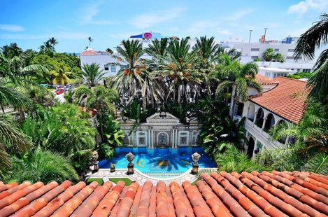 The view of the South Beach skyline and pool area of the South Beach mansion formerly owned by fashion designer Gianni Versace in Miami Beac