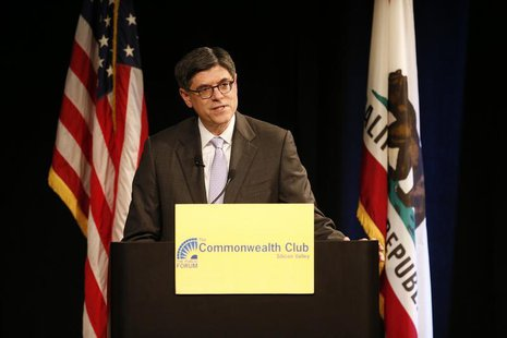 U.S. Treasury Secretary Jacob Lew speaks about the economy at an event hosted by the Commonwealth Club of California at the Computer History