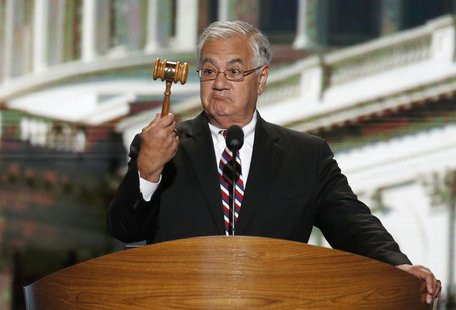 U.S. Rep. Barney Frank (D-MA) holds the gavel during the final session of the Democratic National Convention in Charlotte, North Carolina Se