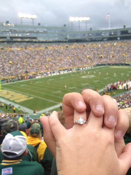 One of our staff members accepted a marriage proposal at the Washington game!