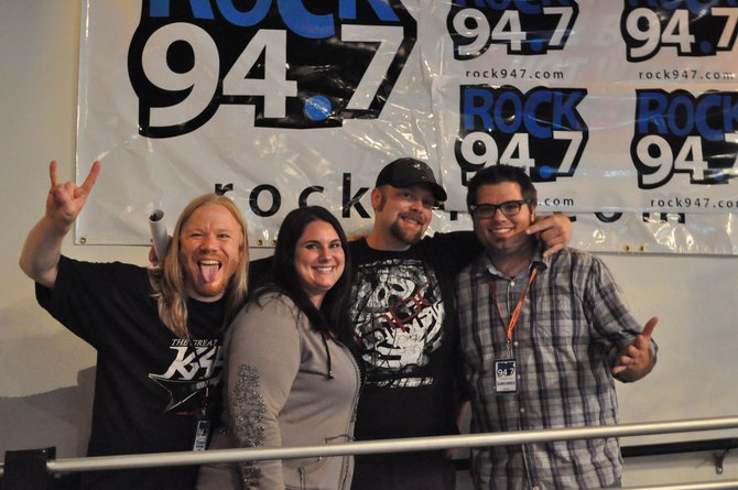 Rock 94.7's Ultimate Fan Tyler from Wisconsin Rapids with Terry Stevens and Lunchbox