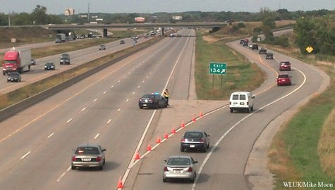 Traffic is diverted off Hwy. 41 in the town of Menasha, Sept. 17, 2013. (Photo by: FOX 11).