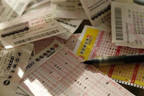 Powerball lottery tickets and slips (Reuters)