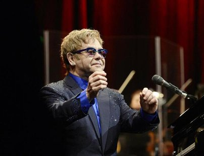 "Musician Elton John performs songs off his new album ""The Diving Board"" with USC Thornton School of Music students in Los Angeles, Californi"