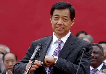 Bo Xilai, then China's Minister of Commerce, attends the opening ceremony of a China International SME fair in Zhengzhou April 26, 2007. REU