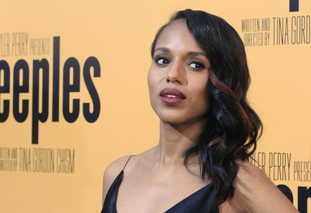 "Actress Kerry Washington, one of the stars of the new film ""Peeples"", produced by Tyler Perry, arrives at the film's premiere in Hollywood M"