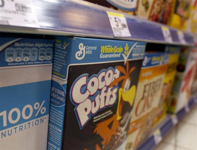 General Mills cereals are displayed on a market's shelf in New York, March 24, 2010. REUTERS/Brendan McDermid