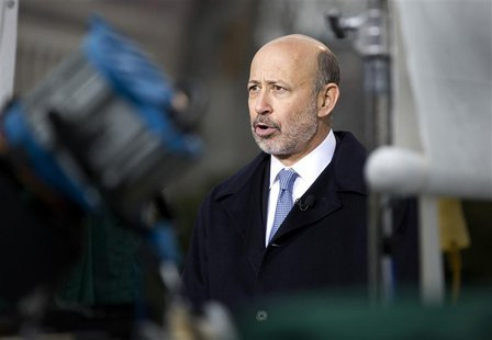 Lloyd Blankfein, Chairman and CEO, Goldman Sachs Group, speaks with the media after meeting with U.S. President Barack Obama and other CEOs