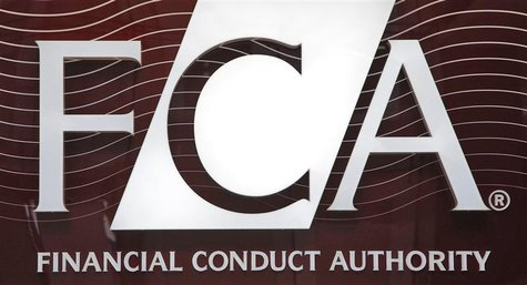 The logo of the new Financial Conduct Authority (FCA) is seen at the agency's headquarters in the Canary Wharf business district of London A